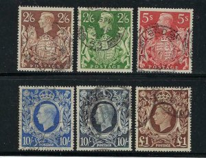 GREAT BRITAIN SCOTT #249-251A/275 1939-48 GEORGE VI HIGH VALUES-  USED