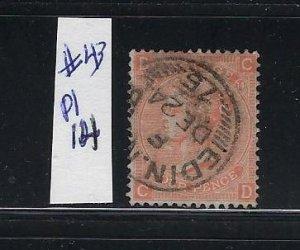 GREAT BRITAIN SCOTT #43 (PLATE 14)-1865 4P (VERMILION) - WMK 23 - USED