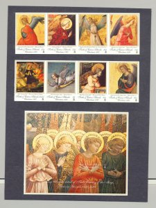 Turks & Caicos #1237-1244, 1246 Christmas 2v Strips of 4 & 1v S/S Imperf Proofs