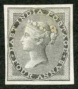 India SG45b 1856-64 No Watermark 4a. black Mint (small part gum) Variety IMPERF