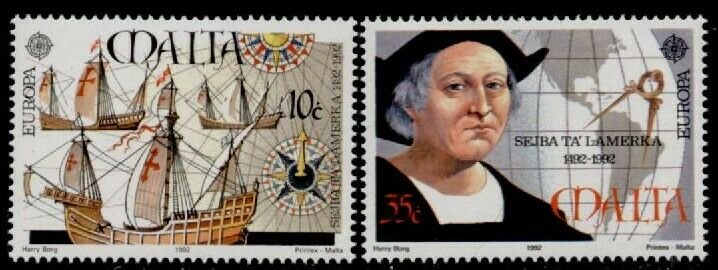 Malta 797-8 MNH Discovery of America, Ships, Map, Columbus