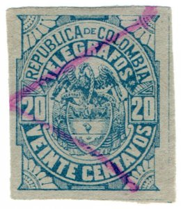 (I.B) Colombia Telegraphs : 20c Blue on Bluish (1901)