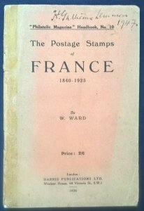 1926 POSTAGE STAMPS OF FRANCE 1840-1925 Early philatelic-literature