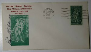 Wayne Stamp Society Detroit MI 1958 Horticulture Philatelic Expo PM signed 1100
