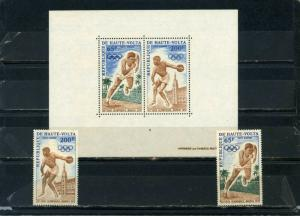 UPPER VOLTA 1972 OLYMPIC GAMES MUNICH SET OF 2 STAMPS & S/S  MNH