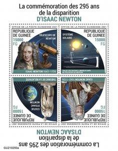 GUINEA - 2021 - Isaac Newton - Perf 4v Sheet -Mint Never Hinged