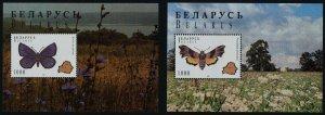 Belarus 139-40 MNH Butterflies, Map, Flowers