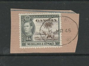 Gambia GV1 2/6 FU on piece SG 158