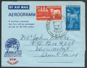 NEW ZEALAND 1957 Sheep commem airletter FDC - special cancel...............12300