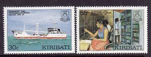 Kiribati-Sc#485-6-Unused NH set-Ships-Telecommunications-1987-
