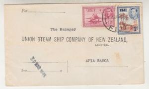FIJI,1945 Union Steam Company of New Zealand cover, 1d. & 2 1/2d. to Apia, Samoa
