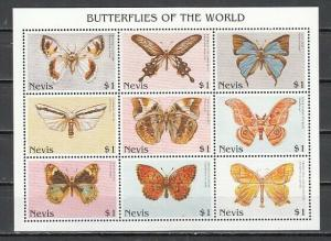 Nevis, New Issue. Butterflies sheet of 9.
