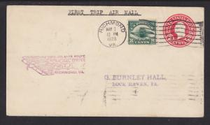 US Sc C4 Uprates U429 Entire, 1928 First Flight Cover, New York to Atlanta Route