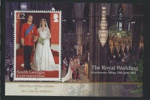 South Georgia 2011 Royal Wedding set & S/S Sc# 426-29 NH