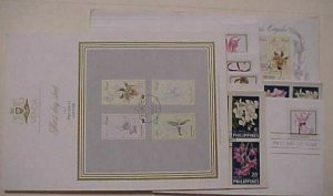 HAWAII ORCHIDS & 34 OTHERS WORLD COVERS & 8 UNUSED STAMPS 43 DIFF.