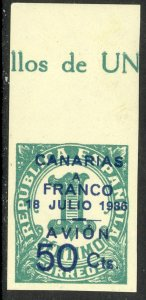 SPAIN CANARY ISLANDS 1937 50c on 1c Lufthansa Service Airmail Type I Sc 9LC1 MNH