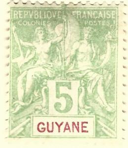 French Guiana (Sc #36) VF Mint OG hr...Difficult to find!