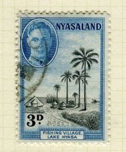 NYASALAND; 1945 early GVI issue fine used 3d. value