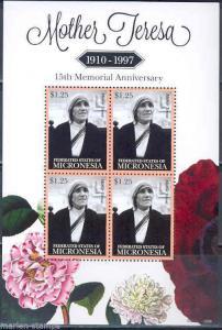 MICRONESIA MOTHER TERESA 15TH MEMORIAL ANNIVERSARY SHEET OF 4