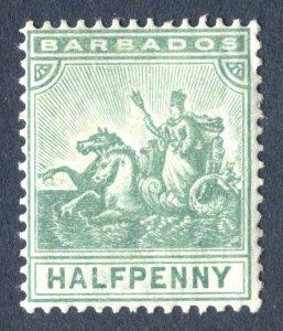 Barbados 1905. 1/2d green. MC CA. Mint. LH. SG136.