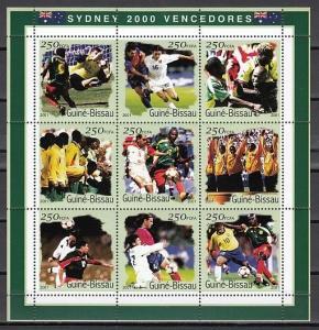 Guinea Bissau, Mi cat. 1306-1314 A. Sydney 2000,  Soccer sheet of 9. ^