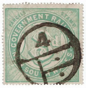 (I.B) Australia - NSW Railways : Parcel Stamp 3d (1918)