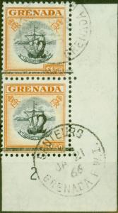 Grenada 1965 2 on $1.50 Black & Orange Setting A & B in a V.F Postally Used Vert