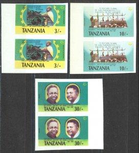 Tanzania Sc# 361-363 MNH pair IMPERF ERROR 1987 3sh-30sh Arush Declaration 20th