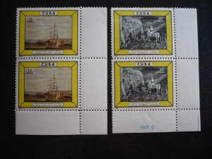 Stamps - Cuba - Scott#933-934 - MNH Set in Pairs with corner selvedge