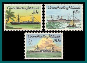 Cocos 1985 Cable-laying Ships, MNH  129-131,SG129-SG1