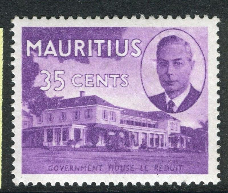 MAURITIUS;  1950 early GVI issue fine Mint hinged 35c. value