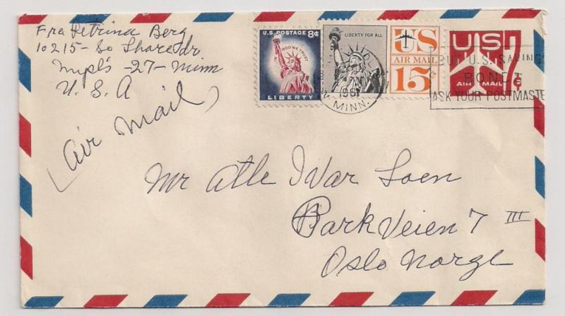 UC34 w C63 & 1042 all double rate airmail to NORWAY 1967