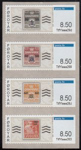 Faroe Islands 2015 MNH Strip of 4 Vending Machine Stamps 8.50k
