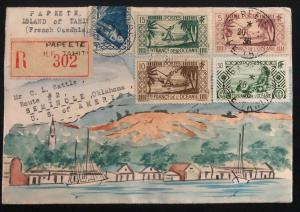 1936 Papeete Tahiti Karl Lewis Harbor Front Cachet Cover To Seminole OK USA