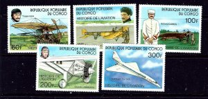 Congo (PR) 421-25 MNH 1977 History of Aviation