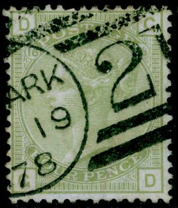SG153, 4d sage-green plate 16, USED, CDS. Cat £300. GD