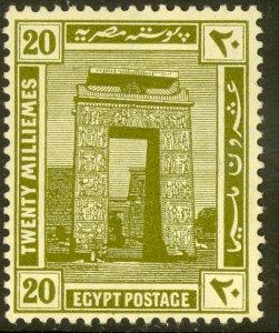 EGYPT 1921-22 20m PYLON OF KARNAK Pictorial Sc 72 MHR