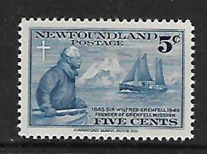 NEWFOUNDLAND 252   MNH  SIR WILFRED GRENFELL AND THE STRATHCONA 2, SHIP, 1941