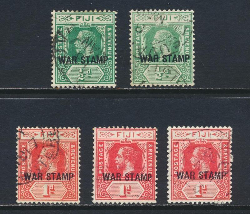 FIJI 1915, ½d & 1d WAR TAX, SHADES GROUP, VF USED SG#138/a/39/a/b (SEE BELOW)