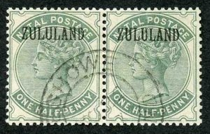 Zululand SG13 1/2d dull green (no stop) Pair (right stamp creased) Cat 100 poun