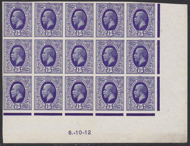 GB 1912 International Exhibition GV 1d 'Ideal Stamp' IMPERF block of 15....57495