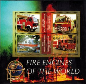 Sierra Leone MNH S/S Fire Engines Of The World 4 Stamps