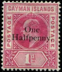 Cayman Islands SC# 17 SG# 17 Edward VII 1/2d on 1d wmk 2 mh gum stain