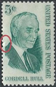 US 1235 (used, small tear at left) 5¢ Cordell Hull (1963)