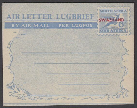 SWAZILAND 1940s overprint on South Africa 6d aerogramme unused..............M949