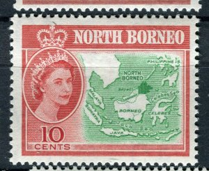 NORTH BORNEO; 1961 early QEII pictorial issue fine Mint hinged 10c. value
