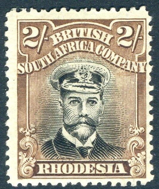 RHODESIA-1922-23 2/- Black & Brown Sg 301 LIGHTLY MOUNTED MINT V18598