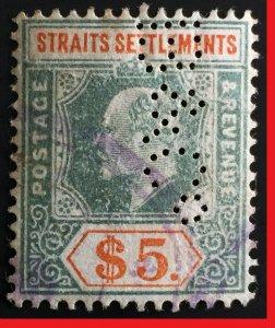 Malaya Straits Settlements 1902 KE VII Crown CA $5 PERFIN SG#121 CV£180 M2510B