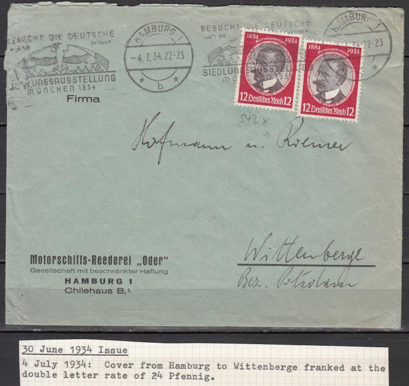 Germany - 4.7.1934 K.Peters as MeF on cover Hamburg - Wittenberge (1962)