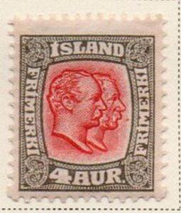 Iceland Sc 73 1907 4 aur gray & red 2 Kings stamp mint